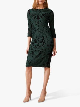 Phase Eight Benita Sleeved Tapework Dress, Black/Green