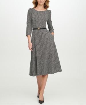 Calvin Klein Belted Zig-Zag Midi Dress