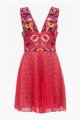 French Connection Alice Lace Embroidered V Neck Dress