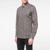 Paul Smith Men's Slim-Fit Petrol Blue 'Cheetah' Print Shirt
