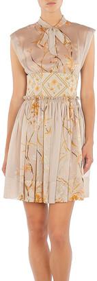 Alberta Ferretti Hibiscus Rampage Floral-Printed Chiffon Mini Dress