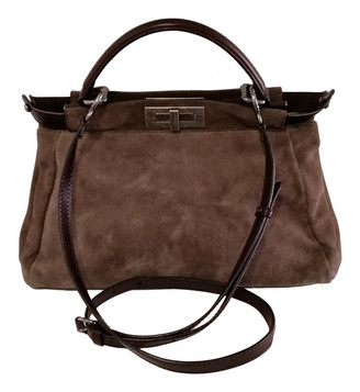 Fendi Peekaboo Grey Suede Handbags