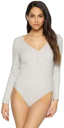 Felina Women's The Body Zone Long Sleeve Wide Rib Bodysuit Heather Grey XL