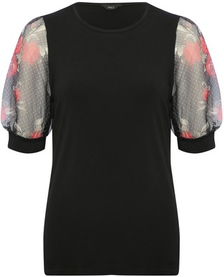 M&Co Organza floral print puff sleeve top