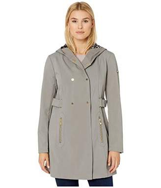 Via Spiga Women's Hooded Snap Front Double Breasted Soft Shell Jacket W/Animal Printed Backing