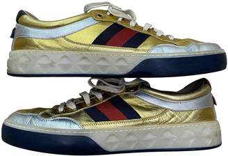 Gucci Web Gold Leather Trainers