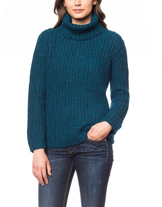 Invisible World Womens Jumper 100% Brushed Baby Alpaca Wool Turtle Neck Top Ribbed Chunky Pullover Sweater - Bluegreen X-Large