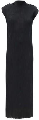Jil Sander Translucent Plisse-jersey Dress - Black