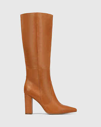 Wittner - Women's Brown Long Boots - Handy Leather Block Heel Long Boots - Size One Size, 40 at The Iconic