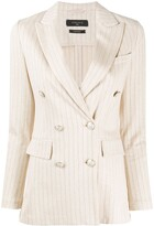 Thumbnail for your product : Circolo 1901 Striped Double-Breasted Blazer