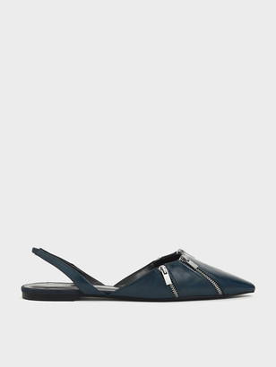 Charles & Keith Multicolour Zip Detail Pointed Toe Textured Slingback Flats