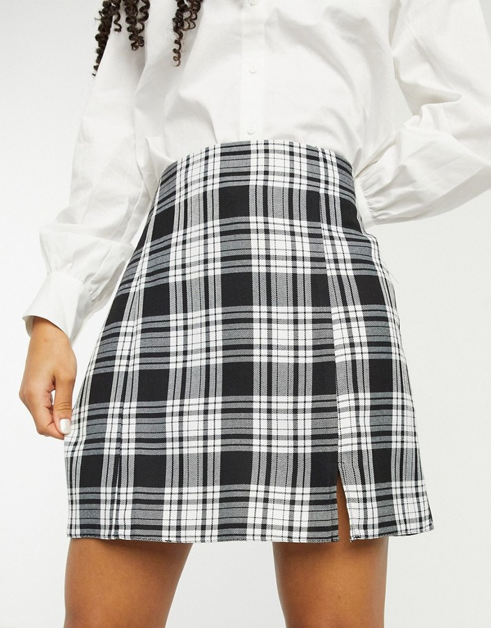 Thumbnail for your product : New Look split front mini skirt in black check