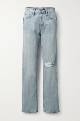 RE/DONE 90s Distressed High-rise Straight-leg Jeans - Light denim