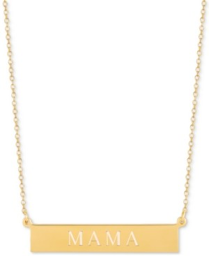 Sarah Chloe Mama Adjustable Engraved Bar Pendant Necklace in 14k Gold-Plated Sterling Silver