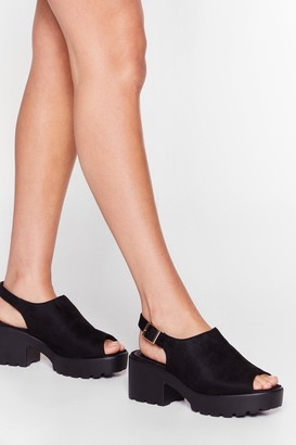 Nasty Gal Womens Slingback to Reality Faux Suede Cleated Sandals - Black