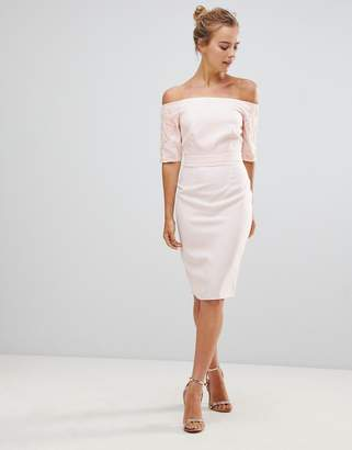 Little Mistress Pencil Dress With Lace Sleeves-Beige