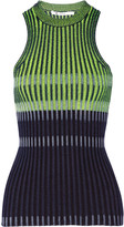Alexander Wang Striped ribbed-knit cotton-blend top