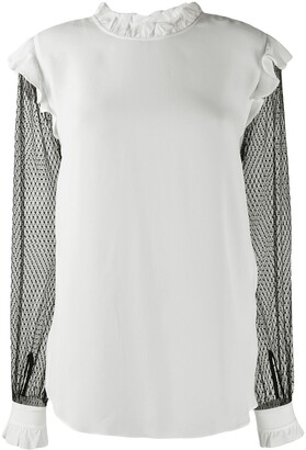 Twin-Set Contrast Sheer Sleeves Blouse