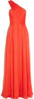 Matthew Williamson One-shoulder silk-chiffon gown