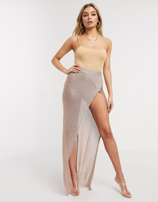 Sorelle UK knitted shimmer wrap maxi skirt with high thigh split in rose gold-Pink