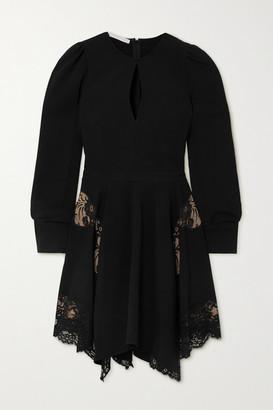 Stella McCartney Net Sustain Celeste Asymmetric Lace-paneled Cady Mini Dress - Black