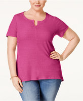 Style&Co. Style & Co. Plus Size Split-Neck T-Shirt, Only at Macy's
