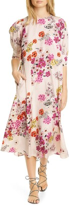 By Ti Mo Delicate Diamond Jacquard Floral Print Midi Dress