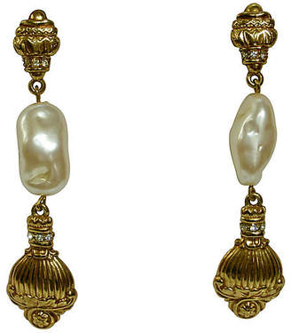 One Kings Lane Vintage Givenchy Baroque Pearl Earrings - Wisteria Antiques Etc