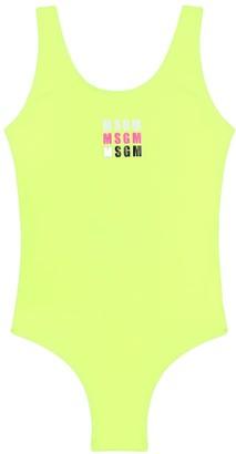 MSGM Kids Logo-print swimsuit