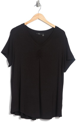Modern Designer Short Sleeve Ruched V-Neck Swing Top