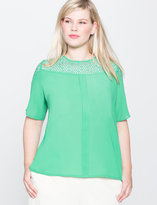 ELOQUII Plus Size Lace Yoke Top