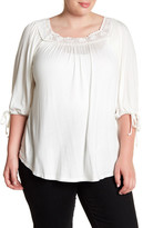 Hip Lace Trim Blouse (Plus Size)