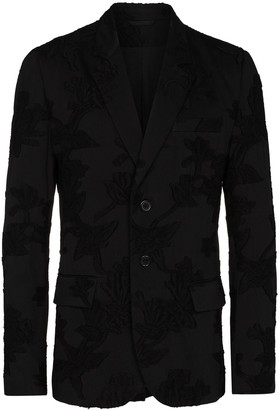Ann Demeulemeester Floral-Print Single-Breasted Blazer Jacket