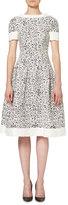 Carolina Herrera Short-Sleeve Splatter-Print Dress, White/Black