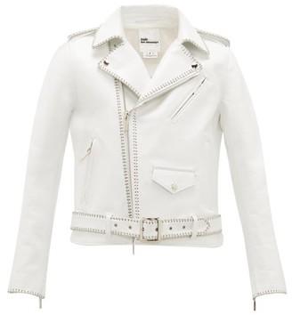 Noir Kei Ninomiya Chain-trimmed Leather Biker Jacket - White
