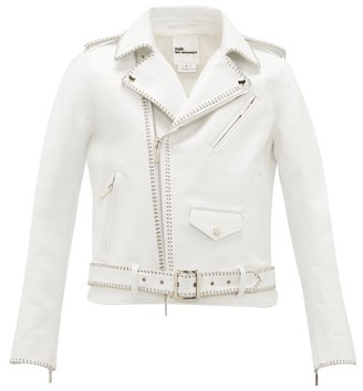 Noir Kei Ninomiya Chain-trimmed Leather Biker Jacket - Womens - White