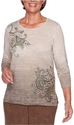 Alfred Dunner Petite Walnut Grove Embroidered Top