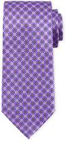 Canali Connected Medallions Silk Tie, Purple