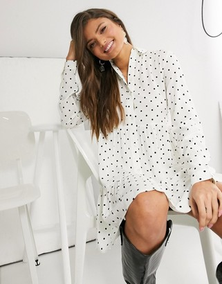 Stradivarius shirt dress in white with black dots