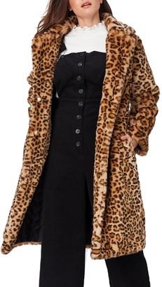 Lost + Wander Encanto Leopard Print Faux Fur Coat