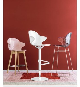 Calligaris Saint Tropez Swivel Adjustable Height Bar Stool Upholstery: Optic White, Color: Matte Optic White
