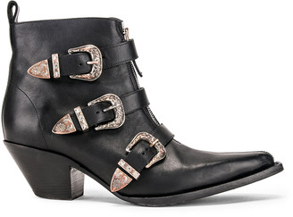 R 13 Ankle Three Buckle Boot in Black Leather | FWRD