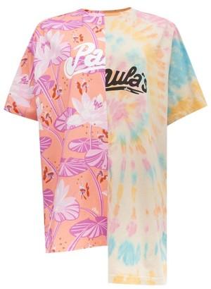 Loewe Paula's Ibiza - Asymmetric Palm Leaf-print Tie-dye T-shirt - Womens - Orange Multi