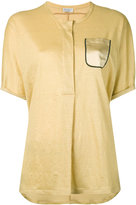 Brunello Cucinelli chest pocket shortsleeved shirt - women - Silk/Linen/Flax - M