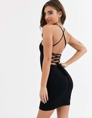 Asos Design DESIGN going out strappy back mini dress in black