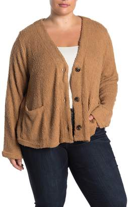 CODEXMODE V-Neck Button Front Pocket Cardigan (Plus Size)