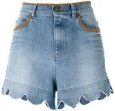 RED Valentino scalloped hem denim shorts - women - Cotton/Polyester/Spandex/Elastane - 28
