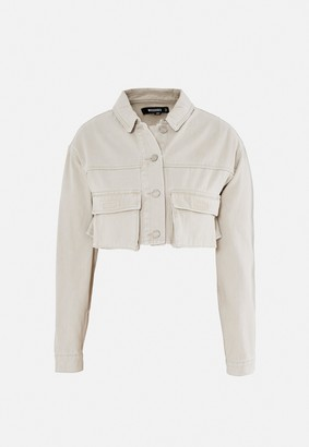 Missguided Cream Utility Pocket Detail Cropped Denim Jacket