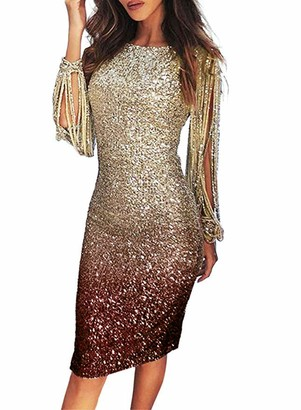 suanret Dress Women V Neck Sequin Stitching Long Sleeve Party Cocktail Dress Crew Neck Glitter Tassel Midi Evening Clubwear Wrap Pencil Dresses (XL