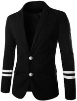 uxcell® Men Stripes Panel Two Flap Pockets Casual Blazer M